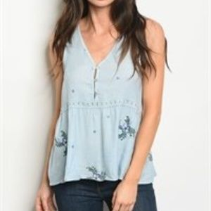 Pale Blue Embroidered Floral Top